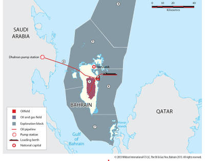 Blocks, fields and infrastructure Map Bahrain